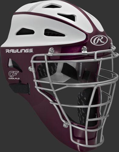 Front right of a maroon/white SBCHVEL Rawlings Velo softball youth catcher's helmet