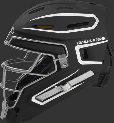 Left side of a black/white CHMCHS Rawlings senior hockey style Mach catcher's helmet