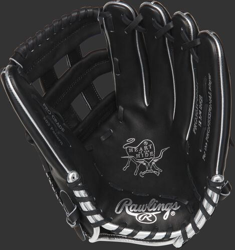 PRO3039-6BSSP Rawlings Color Sync 4.0 outfield glove with a black palm and black laces