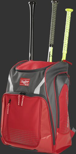 Angle view of a scarlet Legion baseball bat backpack with 3 bats in the back - SKU: LEGION-S