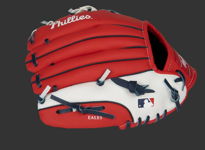 Back of a red/white Philadelphia Phillies 10-inch youth glove with the MLB logo on the pinky - SKU: 22000020111