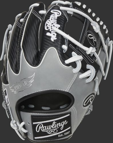 Black Hyper Shell Wing Tip back of a HOH ColorSync 5.0 I-web glove with a black Rawlings patch - SKU: PRO205W-2BWG