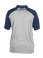 Back of a gray ColorSync polo with navy sleeves and navy Rawlings patch on the back neckline - SKU: CSP-BG/N image number null
