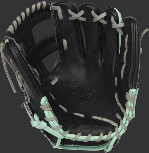 Black palm of a Rawlings Heart of the Hide ColorSync 5.0 infield glove with gray laces - SKU: PRONP4-20BOM