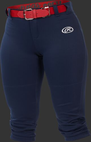 WLNCH navy Women's launch softball pants with a scarlet belt
