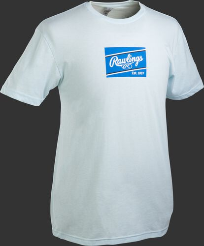An ice blue Rawlings ColorSync patch short sleeve shirt with a royal/white patch on the chest