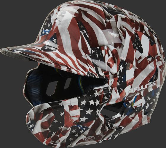 Front left of a MACHEXTR-USA Mach EXT USA hydro dipped helmet with a MEXT attached for a right handed batter