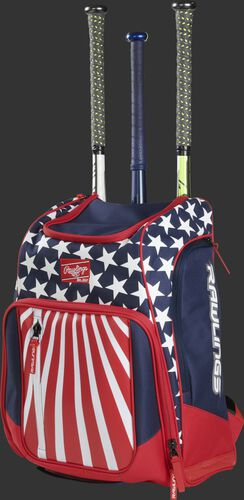 Angle view of a USA Legion baseball bat backpack with 3 bats in the back - SKU: LEGION-USA