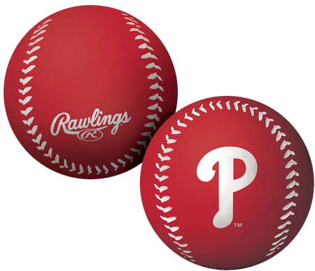 A red Philadelphia Phillies Big Fly rubber bounce ball