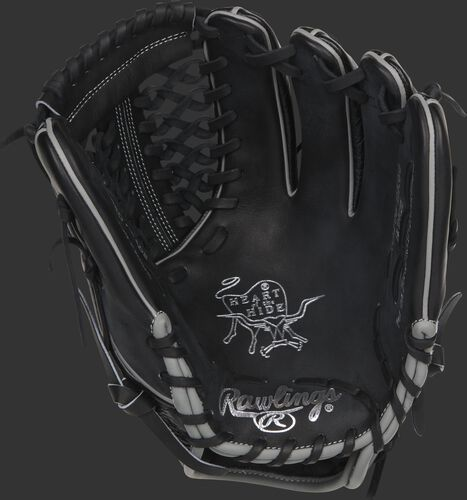 Black palm of a Rawlings Dallas Keuchel glove with silver stamping and black laces - SKU: RSGPRO206-DK60