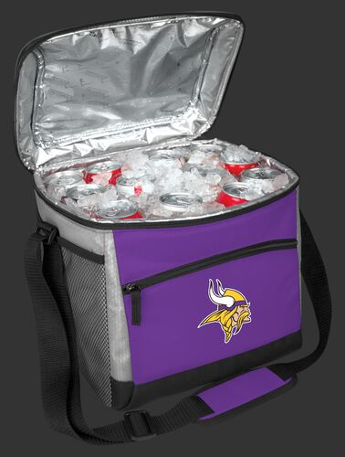 An open Minnesota Vikings 24 can cooler filled with ice and drinks - SKU: 10211075111