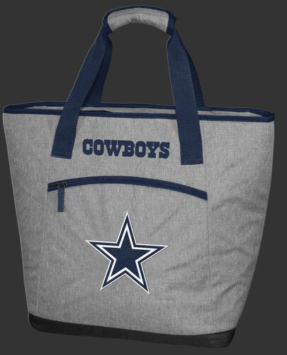 A gray Dallas Cowboys 30 can tote cooler with an embroidered team logo on the front - SKU: 10311065111