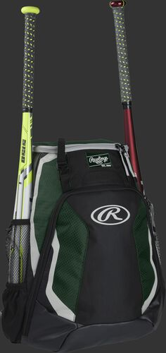 Right side of a black/dark green R500 Rawlings baseball backpack with a white bat in the bat sleeve