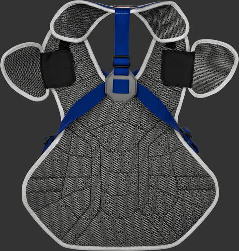 Back of a white/royal CSPZ Salvador Perez gameday model chest protector with royal straps