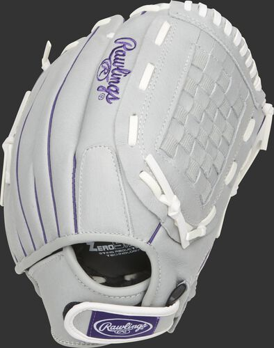 SCSB125PU 12.5-inch Sure Catch softball glove with a grey back and Velcro wrist strap