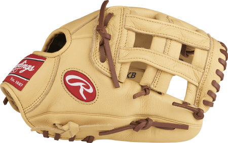Thumb view of a camel SPL115KB Kris Bryant 11.5-inch Select Pro Lite youth glove with a camel H web