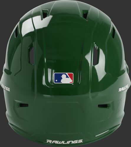 Back of a dark green MCH01A Mach baseball batting helmet with a MLB logo sticker