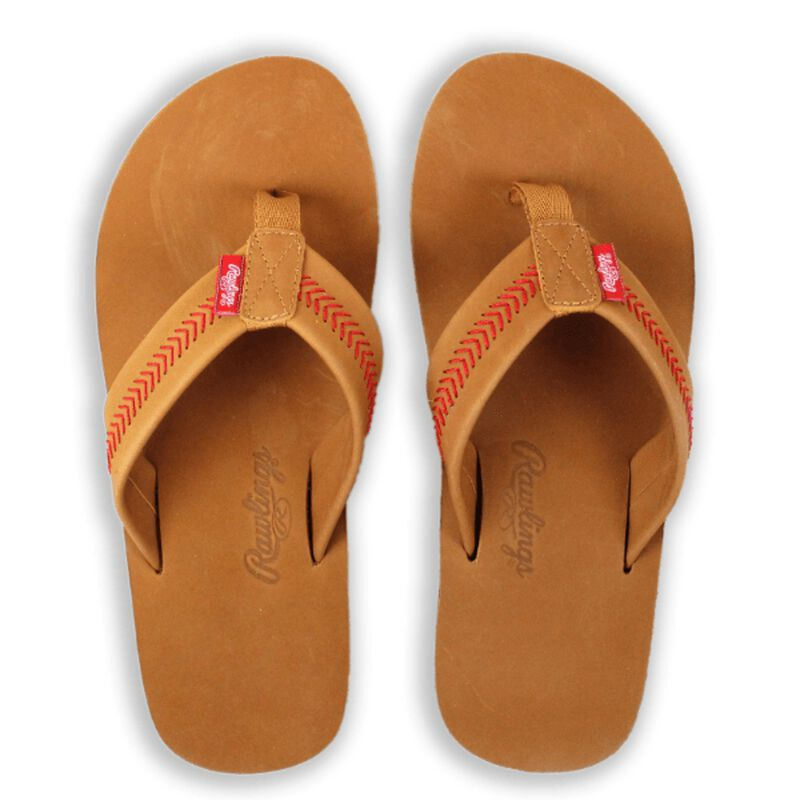 Top of Rawlings Men's Baseball Stitch Nubuck Brown Leather Sandals With Red Baseball Stitch and Brand Name SKU #P-RF50000-204