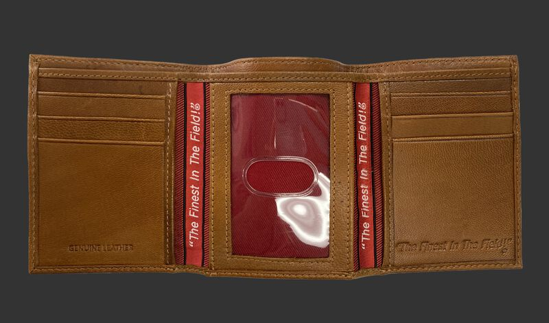 Inside of a tan tri-fold Rawlings debossed stitch wallet with multiple card slots and clear ID window in the middle - SKU: RPW008-204