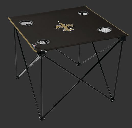 Rawlings Black NFL New Orleans Saints Deluxe Tailgate Table With Four Cup Holders and Team Logo Printed In The Middle SKU #00701077111