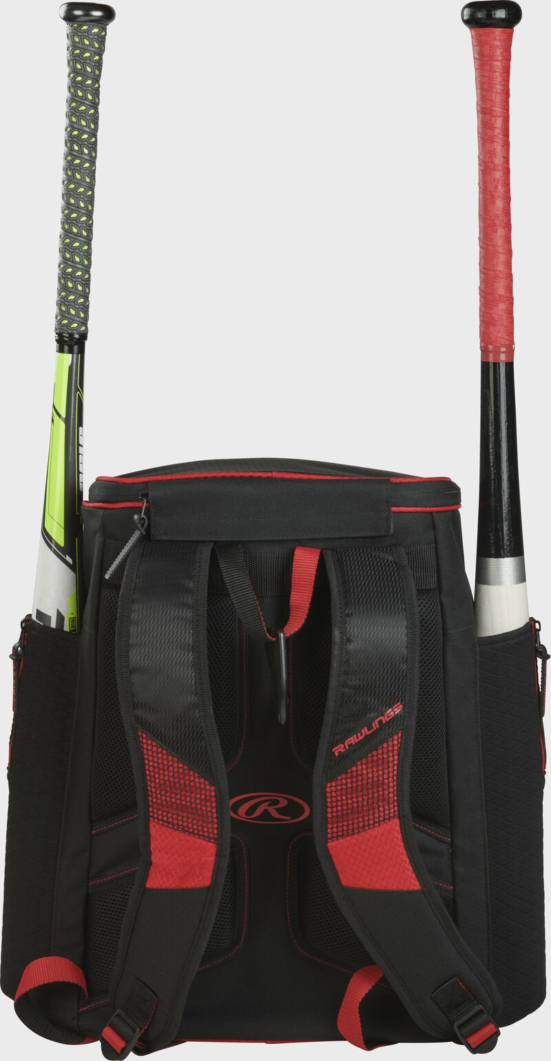 Back of a scarlet/black R600 Rawlings baseball backpack with two bats