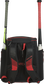 Back of a scarlet/black R600 Rawlings baseball backpack with two bats image number null