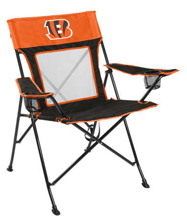 Front of Rawlings Orange and Black NFL Cincinnati Bengals Game Changer Chair With Team Logo SKU #00651063111