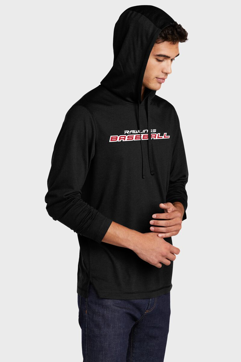 A man wearing a black Rawlings performance hoodie with the hood up over his head - SKU: RSGLH-B
