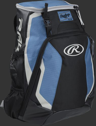 Right side of a black/columbia blue R500 Rawlings Players equipment backpack with white trim
