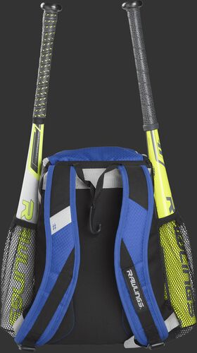 Back of a royal R400 Rawlings youth equipment backpack with royal shoulder straps and two bats