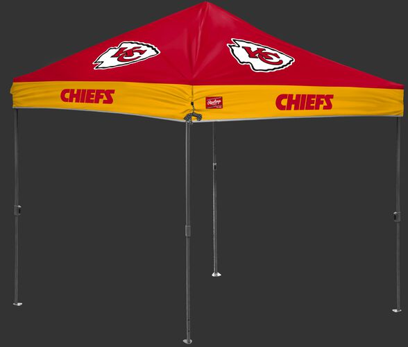 A red/yellow NFL Kansas City Chiefs 10x10 canopy with team logos on each side - SKU: 02231071111
