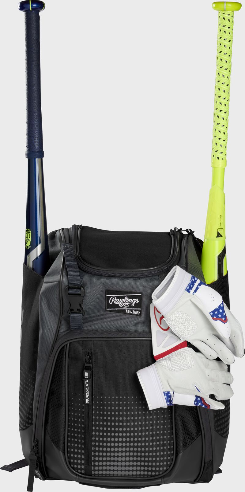 A black Franchise backpack with two bats in the sides and batting gloves on the front Velcro strap - SKU: FRANBP-B