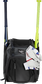 A black Franchise backpack with two bats in the sides and batting gloves on the front Velcro strap - SKU: FRANBP-B image number null