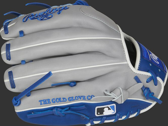 Grey fingers of a Rawlings 2021 HOH infield glove with the MLB logo on the pinkie - SKU: PRO204-2GR