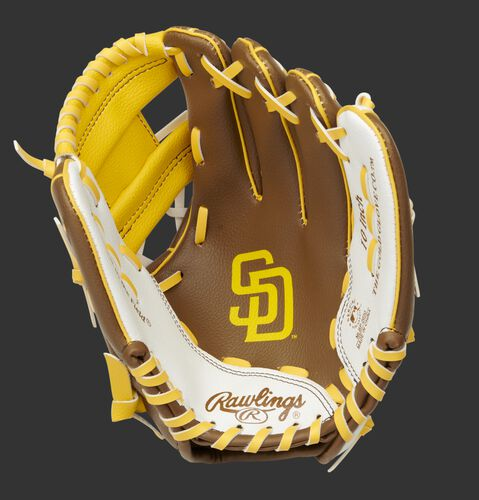 A brown/white Rawlings San Diego Padres youth glove with the Padres logo stamped in the palm - SKU: 22000019111