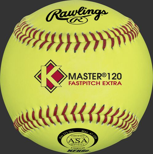 A yellow X120RYCAH K-Master Official 12-inch softball with red stitching