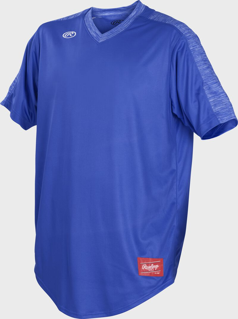 Front of Rawlings Royal Adult Short Sleeve Launch Jersey  - SKU #LNCHJ-R