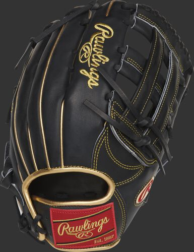 Back of a Ender Inciarte 12.75-Inch H-web outfield glove with a red Rawlings patch - SKU: RSGPRO3039-EI11
