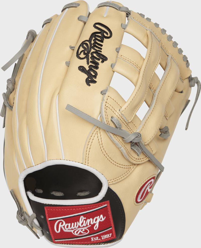 PRO3039-6CBFS 12.75-inch Heart of the Hide outfield glove with a camel back and white binding/welting