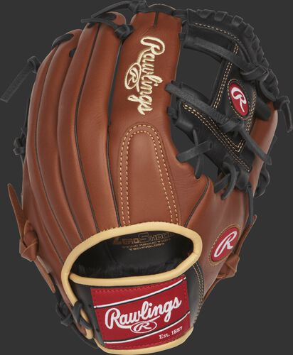 Back view of a brown S1150I 11.5-inch Sandlot Series I web infield glove
