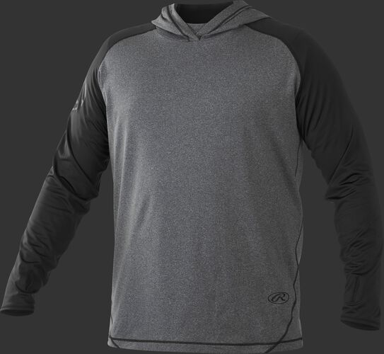 Front of Rawlings Black/Gray Adult Hurler Lightweight Hoodie - SKU #HLWH-GR/B-88