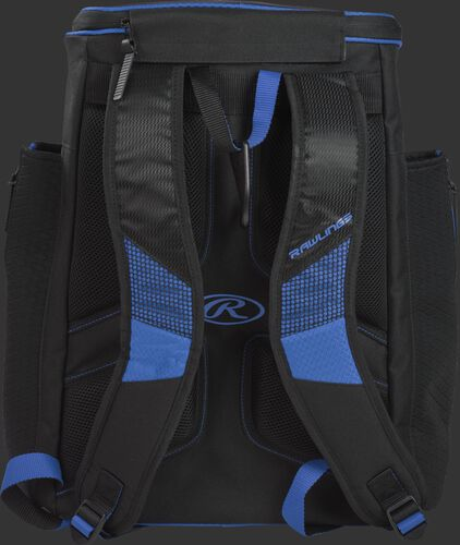 Back of a royal/black R600 Rawlings Players backpack with black shoulder straps
