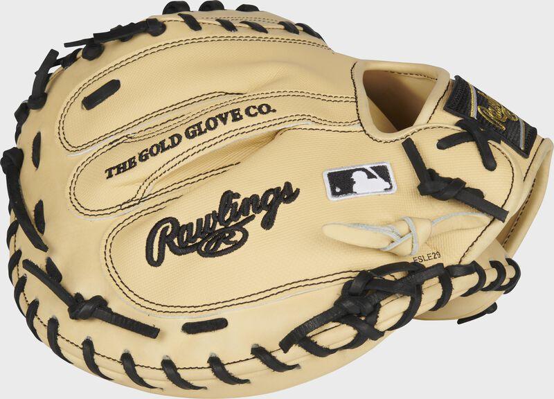 Camel Speed Shell back of a HOH ColorSync 5.0 catcher's mitt with a black Rawlings logo and MLB logo on the pinky - SKU: PROCM43CBG