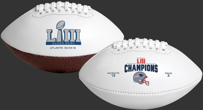 White Super Bowl 53 Champions New England Patriots Youth Size Football With Super Bowl Logo On One Side and Champions Logo On The Other SKU #06571239132