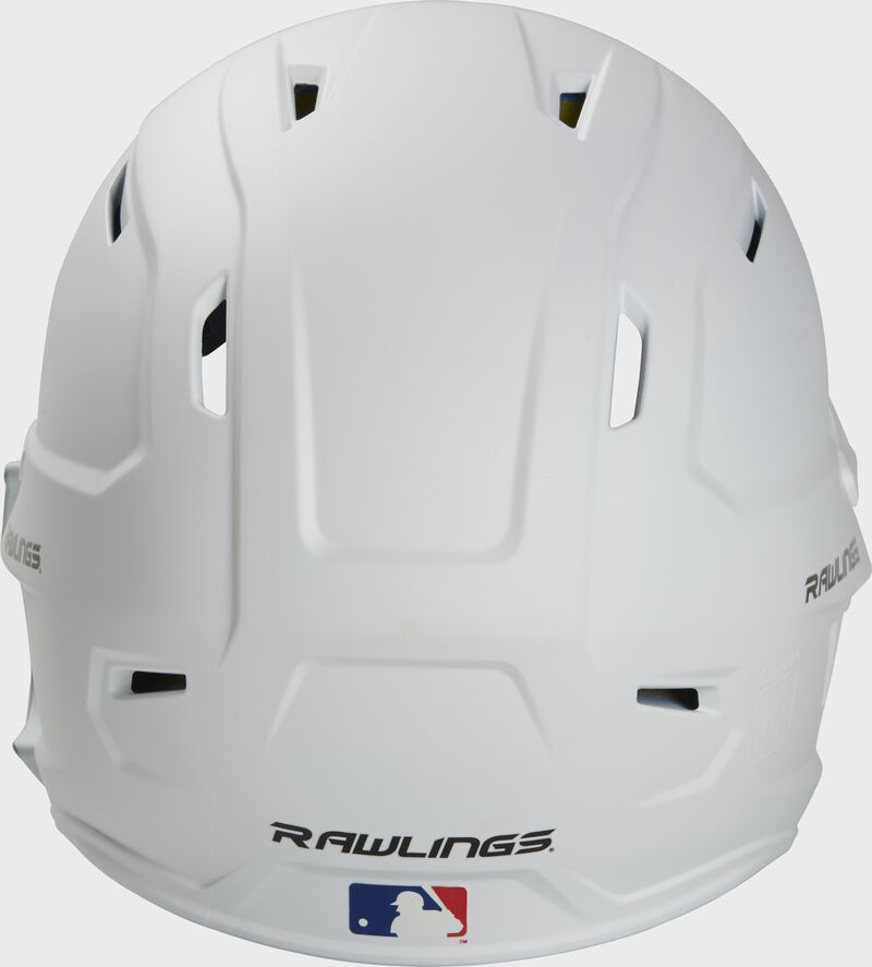 Back of a MACHEXTR high performance junior MACH helmet with a matte white shell and Official Batting Helmet of MLB logo