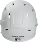 Back of a MACHEXTR high performance junior MACH helmet with a matte white shell and Official Batting Helmet of MLB logo image number null