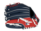 Back of a navy/red Cleveland Indians youth glove with the MLB logo on the pinky - SKU: 22000014111 image number null