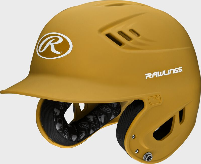 A light gold R16MS Velo batting helmet with Cool-Flo vents