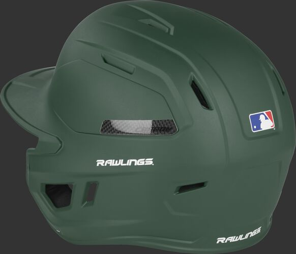 Back left side of a matte dark green CAR07A MACH Carbon batting helmet with air vents on the back