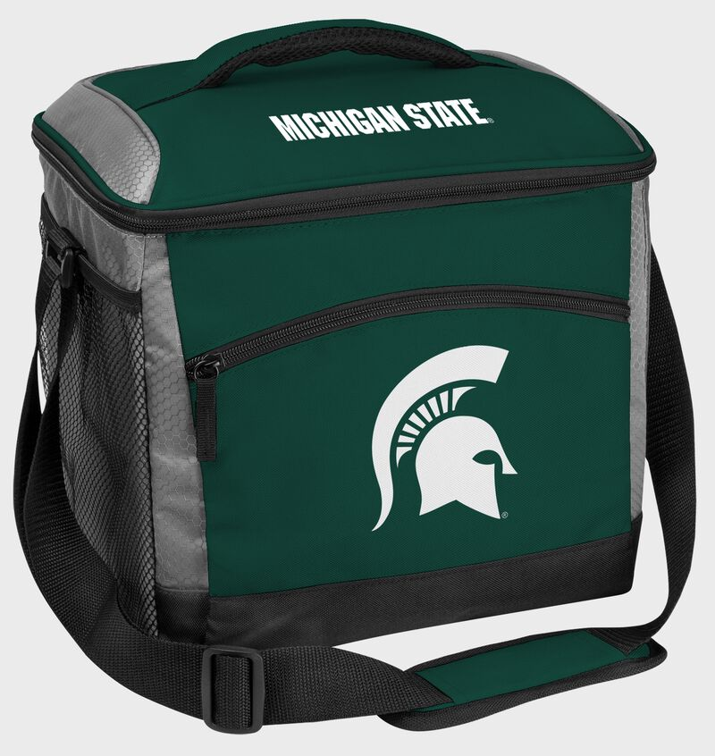 A green Michigan State Spartans 24 can soft sided cooler with screen printed team logos - SKU: 10223038111